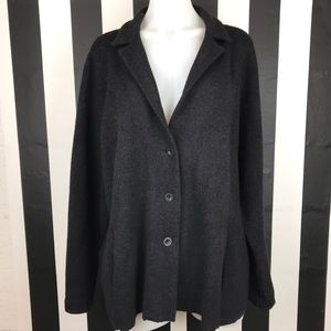 Eileen Fisher Woman Black Knit Button Front Jacket